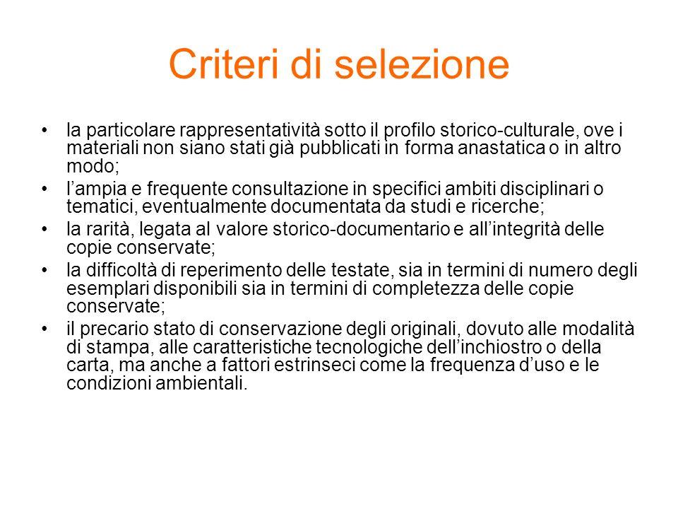 Criteri di selezione
