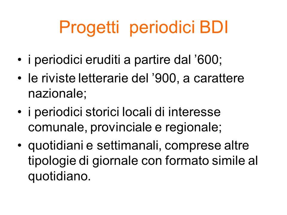 Progetti periodici BDI
