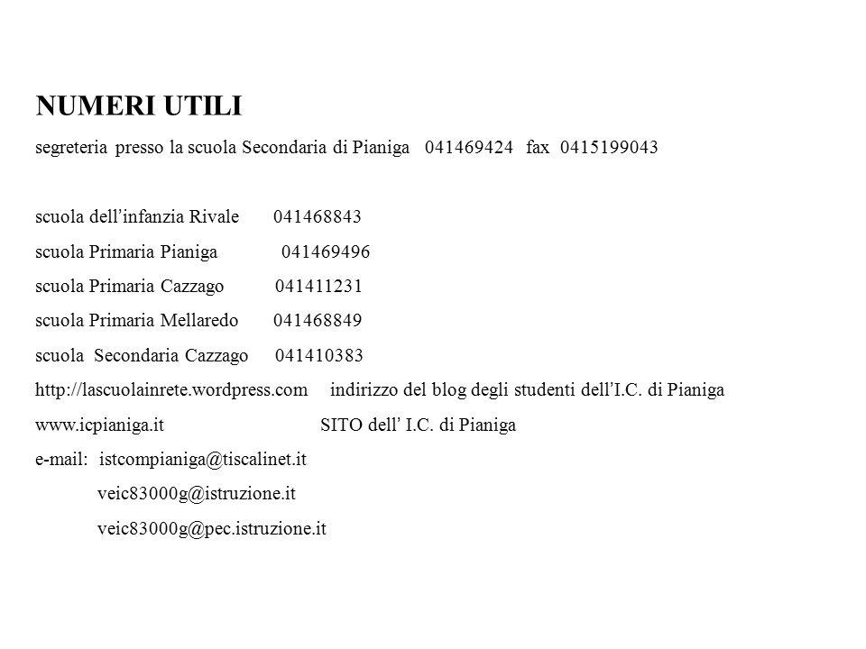 NUMERI UTILI segreteria presso la scuola Secondaria di Pianiga 041469424 fax 0415199043. scuola dell'infanzia Rivale 041468843.