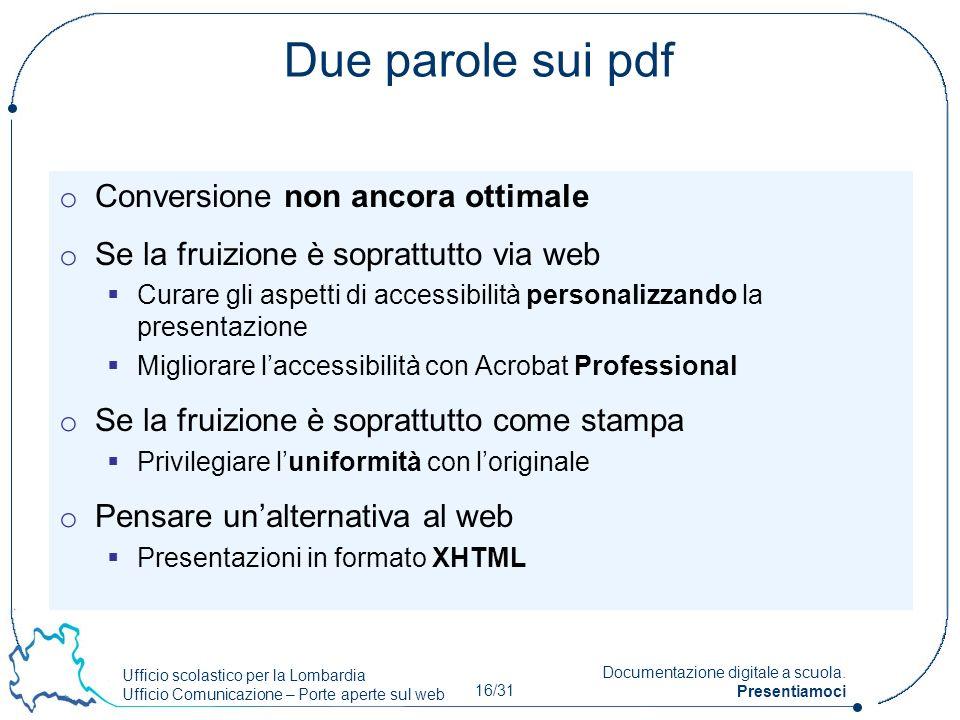 Due parole sui pdf Conversione non ancora ottimale