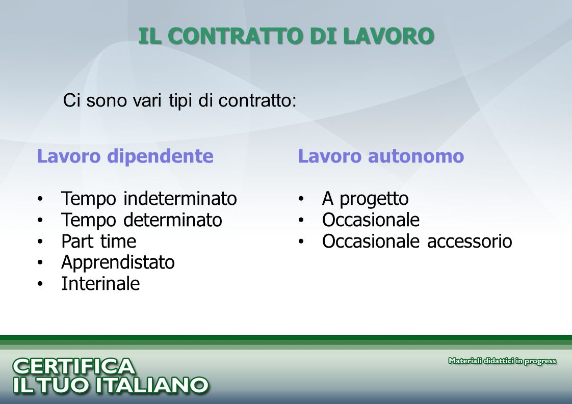 IL CONTRATTO DI LAVORO Ci sono vari tipi di contratto: