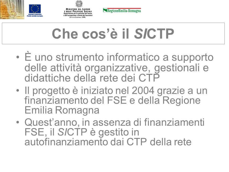 Che cos'è il SICTP È uno strumento informatico a supporto delle attività organizzative, gestionali e didattiche della rete dei CTP.