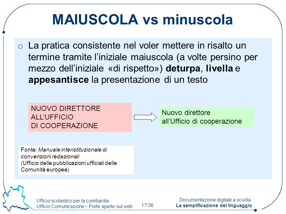 MAIUSCOLA vs minuscola