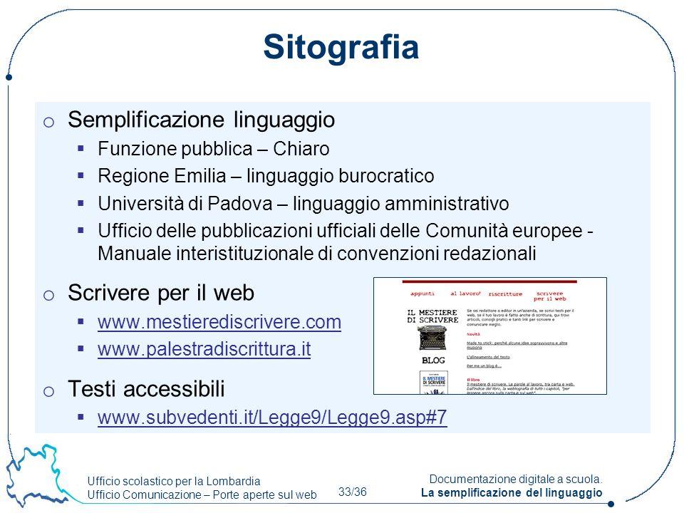 Sitografia Semplificazione linguaggio Scrivere per il web