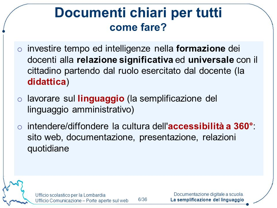 Documenti chiari per tutti come fare