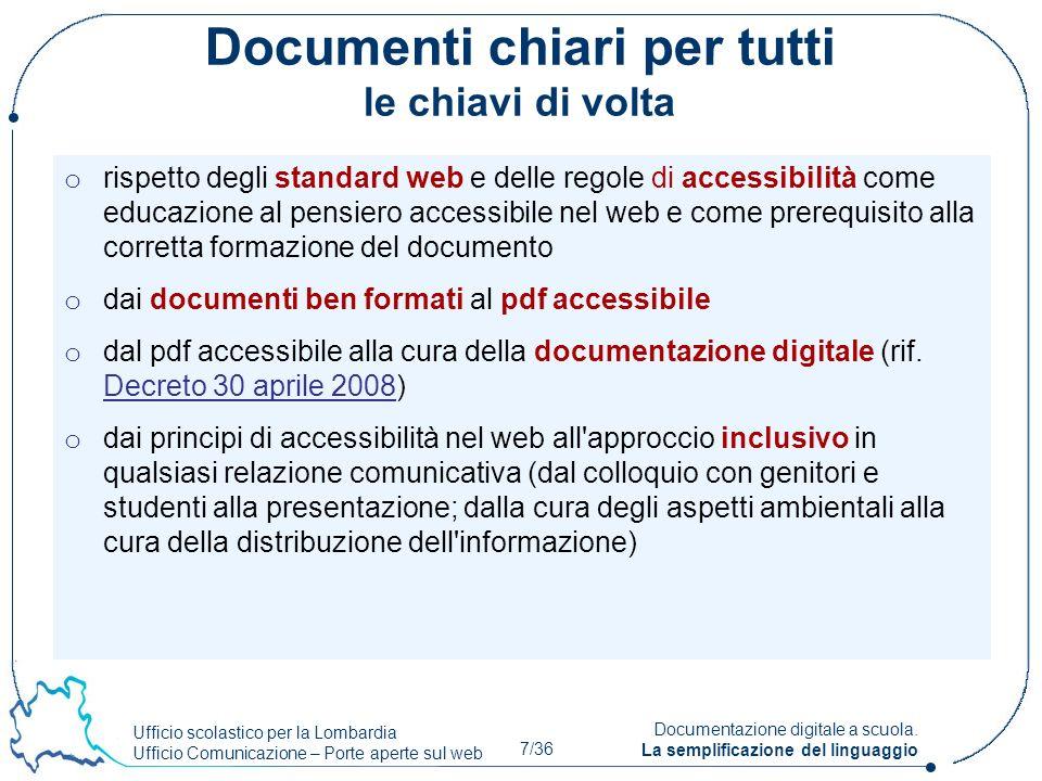 Documenti chiari per tutti le chiavi di volta