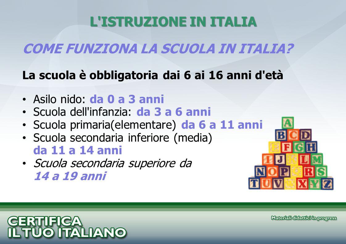 COME FUNZIONA LA SCUOLA IN ITALIA