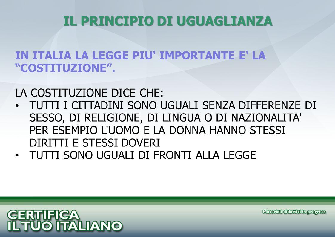 IL PRINCIPIO DI UGUAGLIANZA