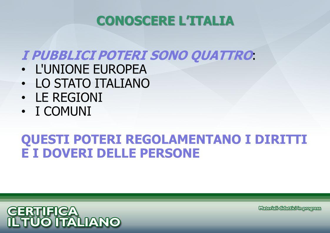 CONOSCERE L'ITALIA I PUBBLICI POTERI SONO QUATTRO: L UNIONE EUROPEA. LO STATO ITALIANO. LE REGIONI.