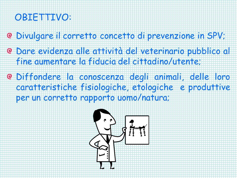 OBIETTIVO: Divulgare il corretto concetto di prevenzione in SPV;