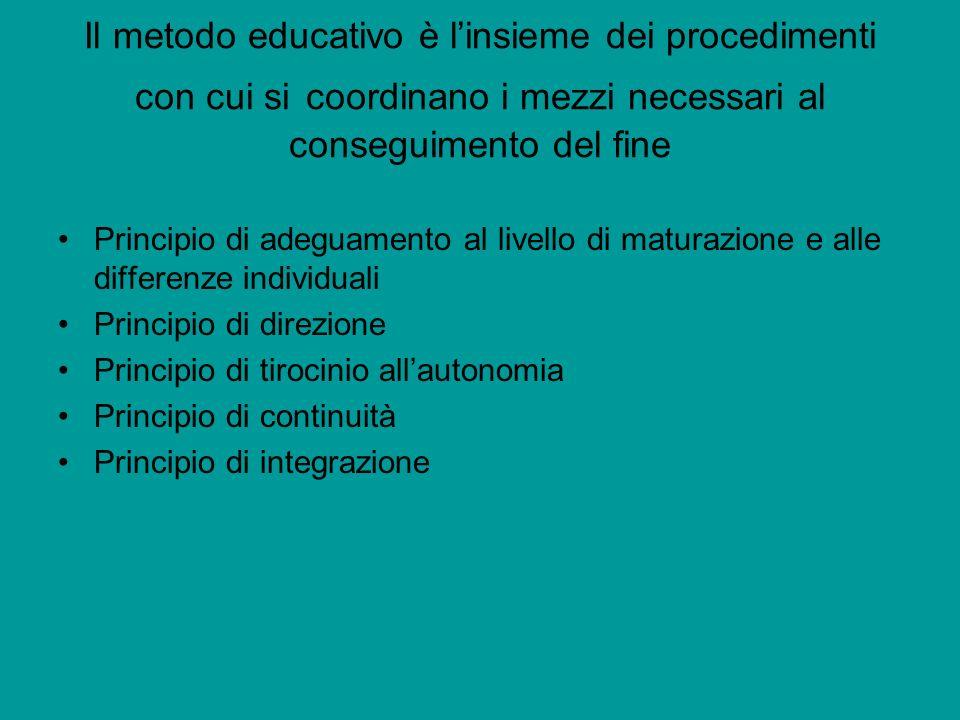 Il metodo educativo è l'insieme dei procedimenti con cui si coordinano i mezzi necessari al conseguimento del fine