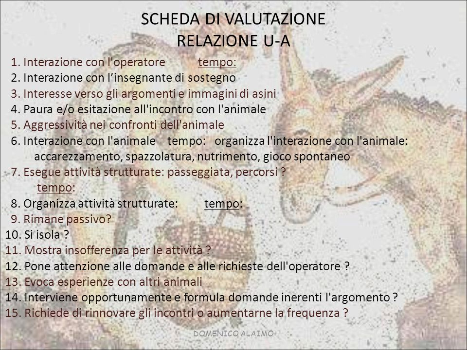 SCHEDA DI VALUTAZIONE RELAZIONE U-A