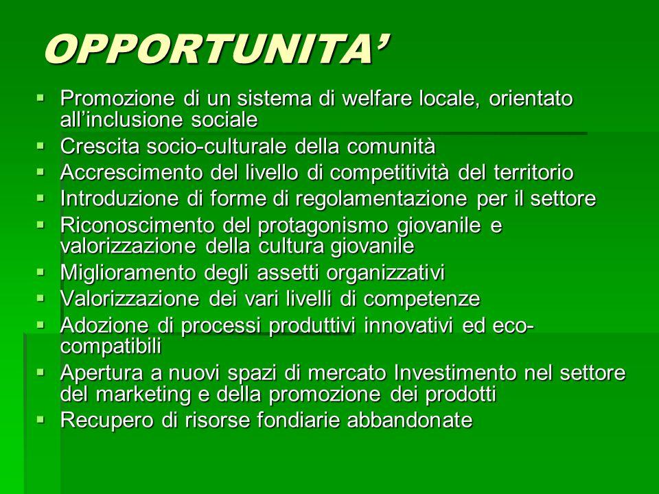 OPPORTUNITA' Promozione di un sistema di welfare locale, orientato all'inclusione sociale. Crescita socio-culturale della comunità.