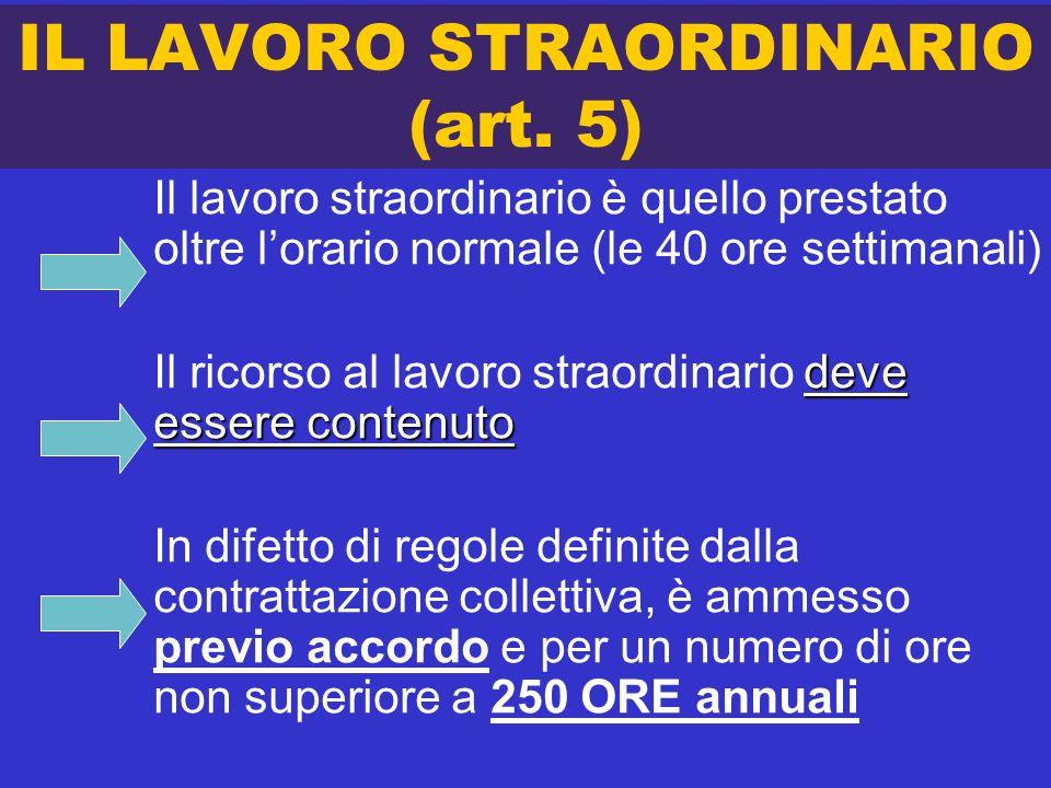 IL LAVORO STRAORDINARIO (art. 5)