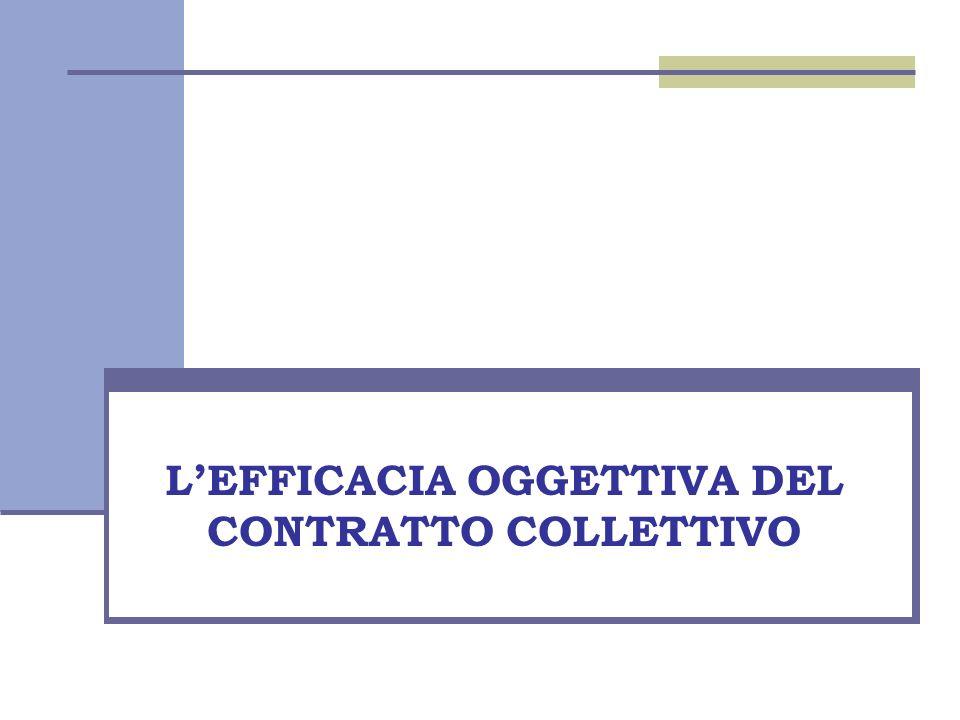 Diritto del lavoro L'EFFICACIA OGGETTIVA DEL CONTRATTO COLLETTIVO
