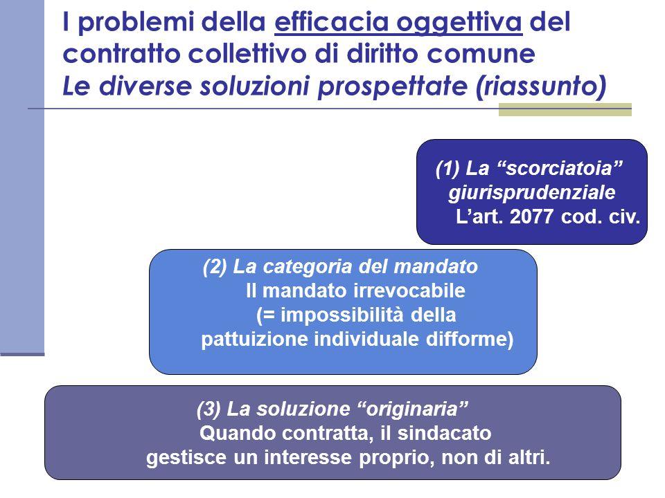 I problemi della efficacia oggettiva del contratto collettivo di diritto comune Le diverse soluzioni prospettate (riassunto)