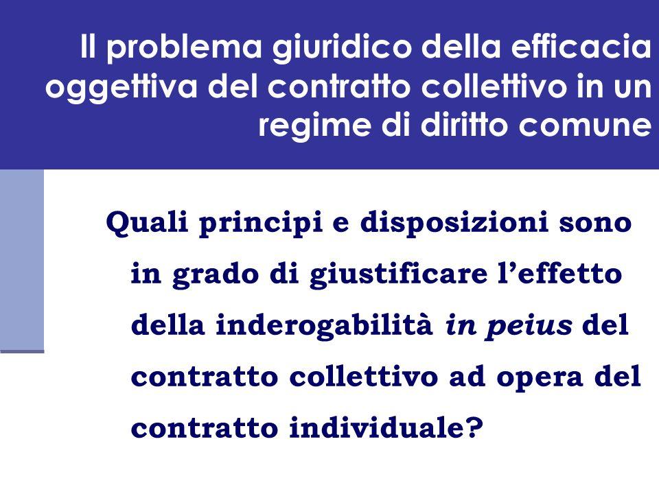 Il problema giuridico della efficacia oggettiva del contratto collettivo in un regime di diritto comune