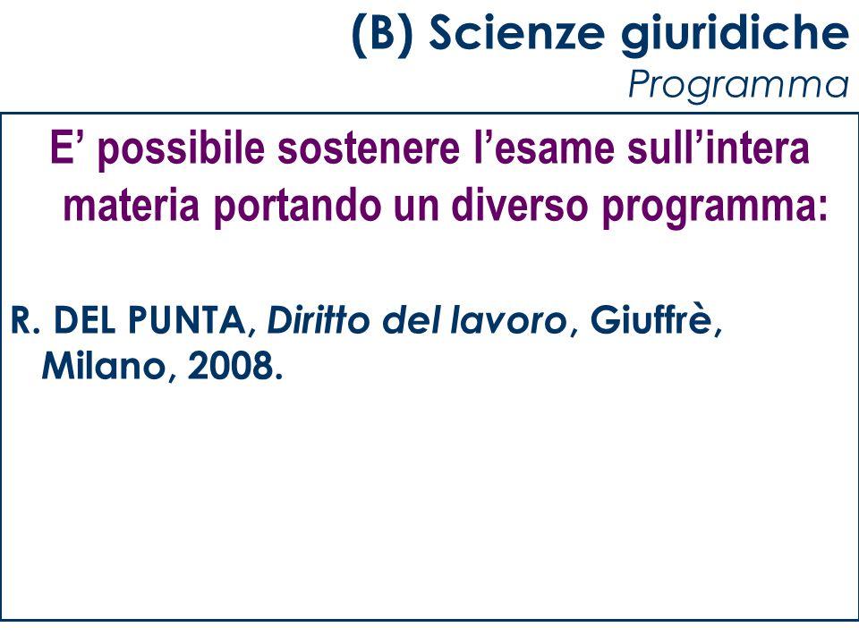 (B) Scienze giuridiche Programma
