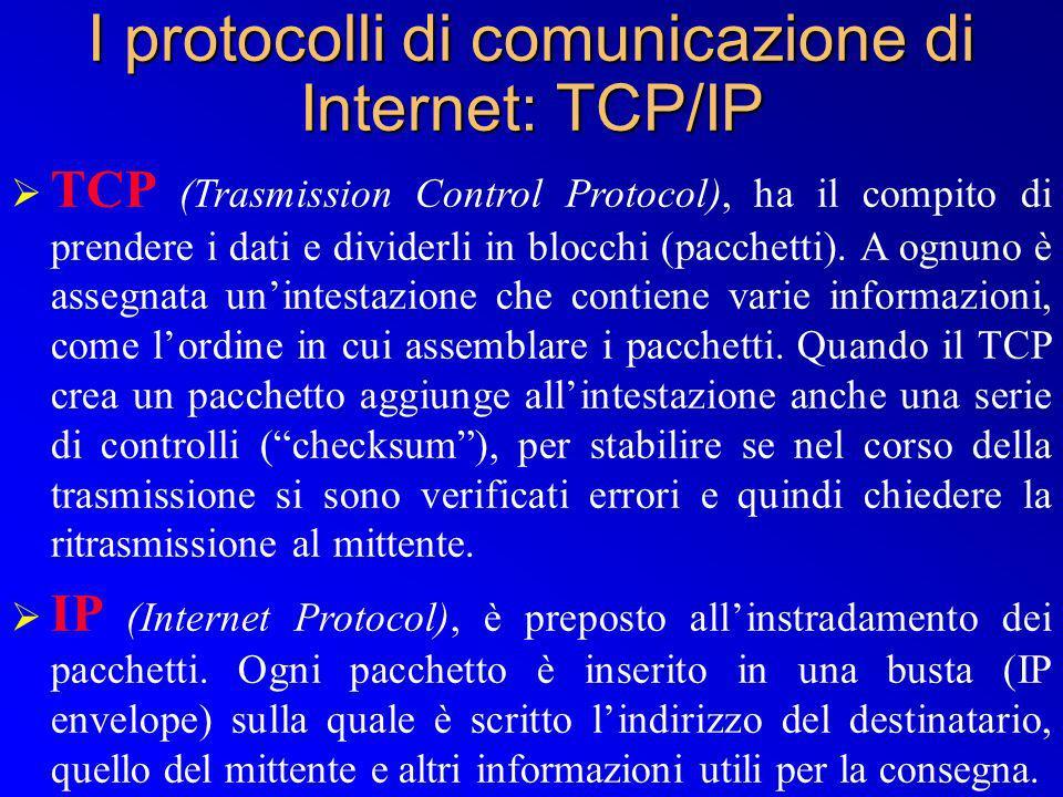 I protocolli di comunicazione di Internet: TCP/IP