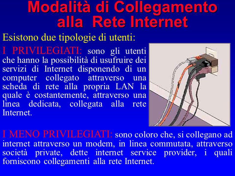 Modalità di Collegamento alla Rete Internet