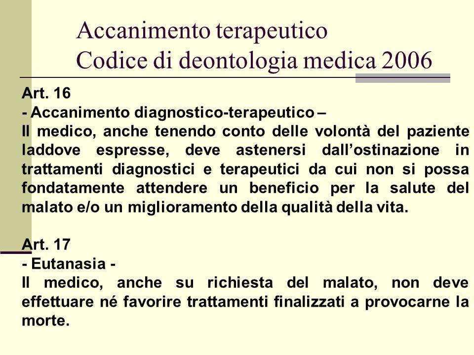 Accanimento terapeutico Codice di deontologia medica 2006