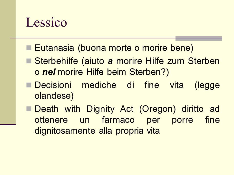 Lessico Eutanasia (buona morte o morire bene)