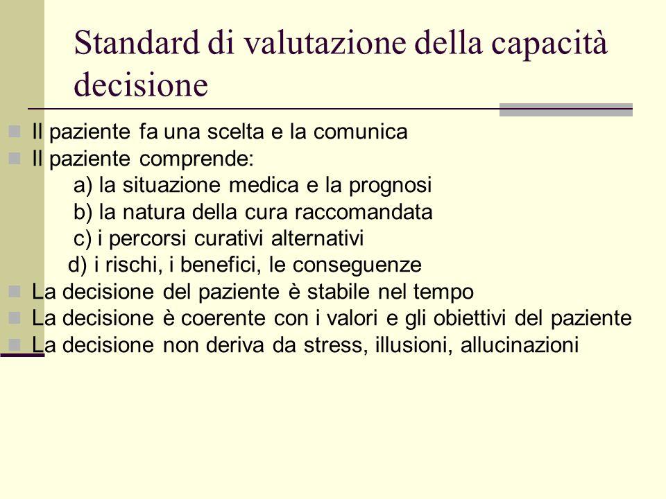 Standard di valutazione della capacità decisione