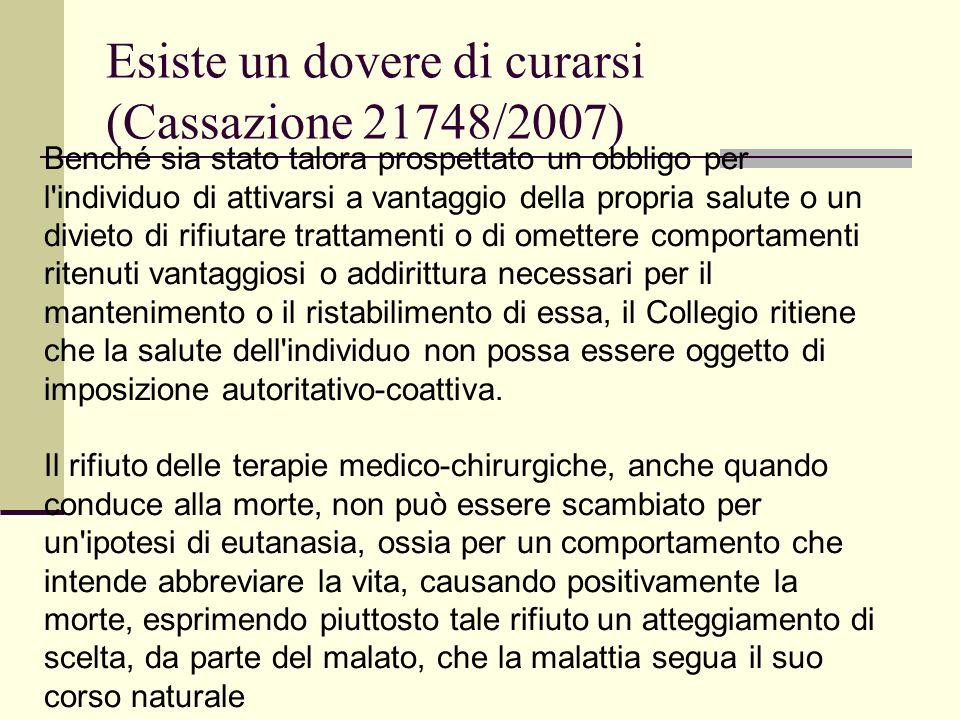 Esiste un dovere di curarsi (Cassazione 21748/2007)