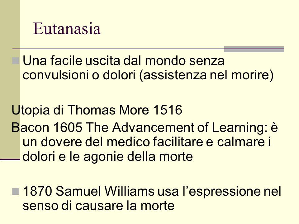Eutanasia Una facile uscita dal mondo senza convulsioni o dolori (assistenza nel morire) Utopia di Thomas More 1516.