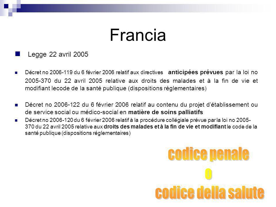 Francia codice penale o codice della salute Legge 22 avril 2005