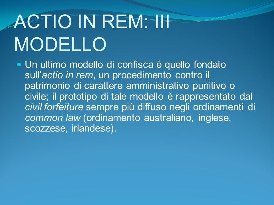 ACTIO IN REM: III MODELLO