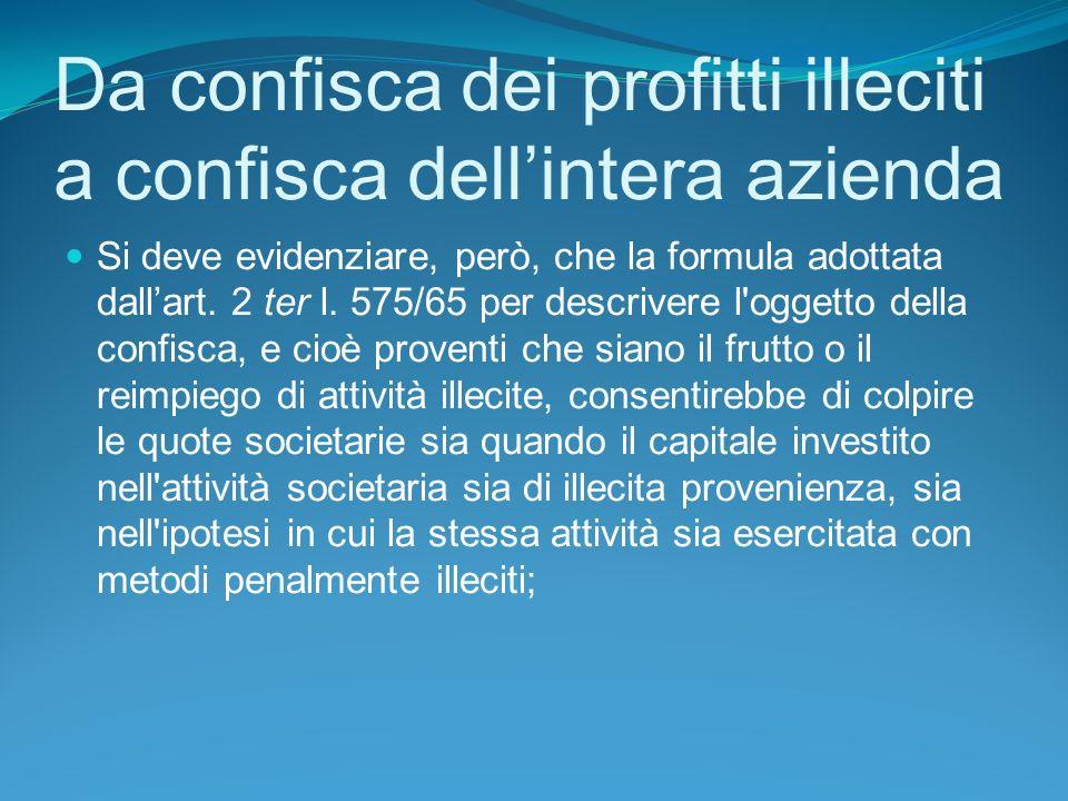 Da confisca dei profitti illeciti a confisca dell'intera azienda