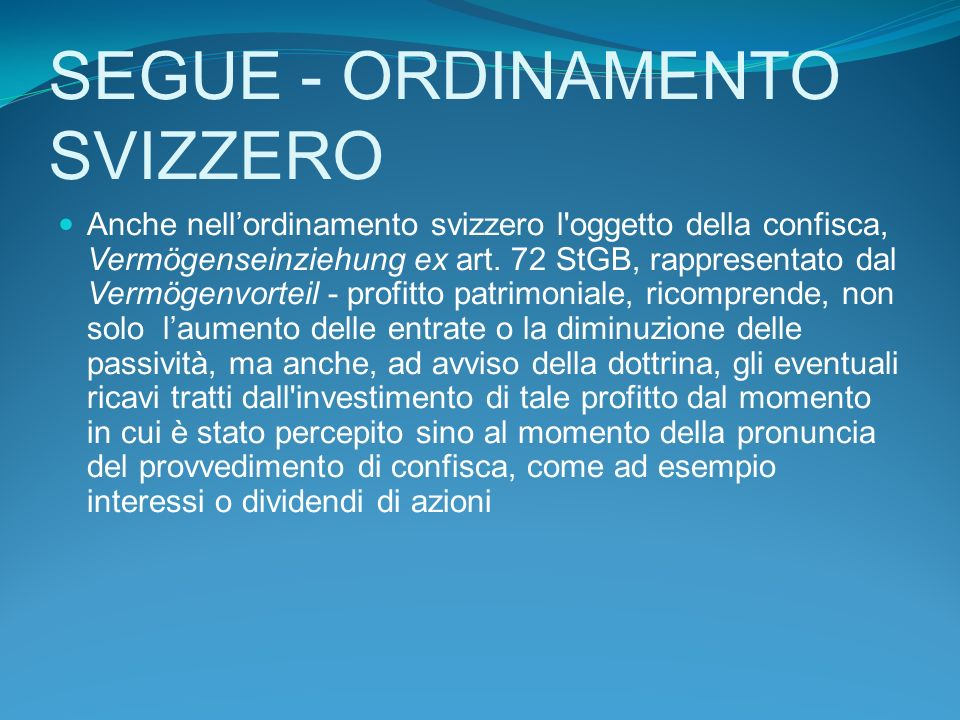 SEGUE - ORDINAMENTO SVIZZERO