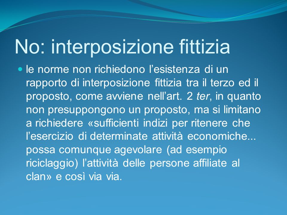 No: interposizione fittizia