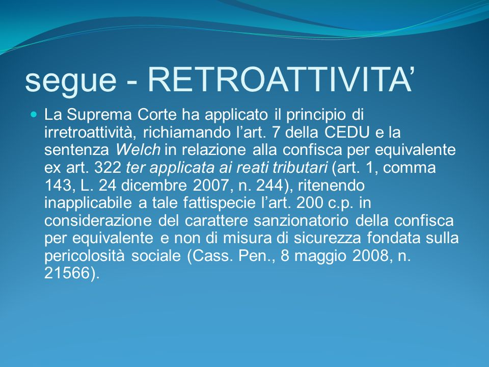 segue - RETROATTIVITA'