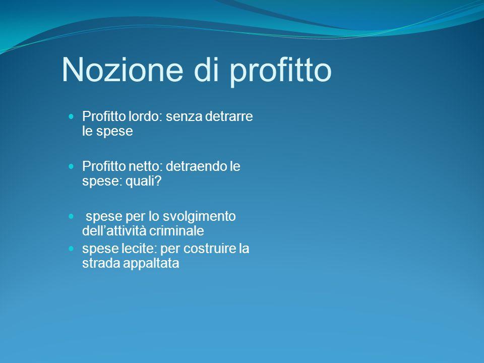 Nozione di profitto Profitto lordo: senza detrarre le spese