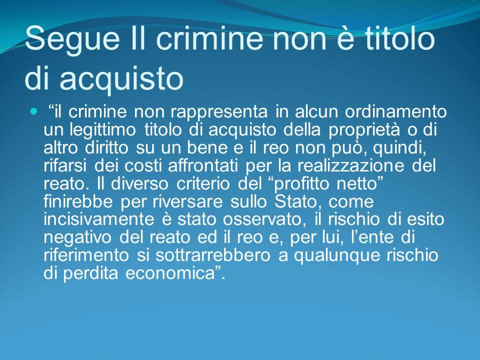 Segue Il crimine non è titolo di acquisto
