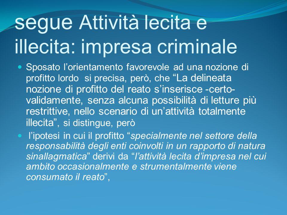 segue Attività lecita e illecita: impresa criminale