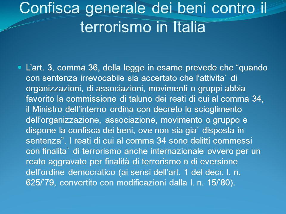 Confisca generale dei beni contro il terrorismo in Italia