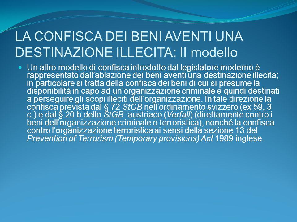 LA CONFISCA DEI BENI AVENTI UNA DESTINAZIONE ILLECITA: II modello