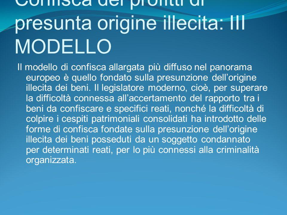 Confisca dei profitti di presunta origine illecita: III MODELLO