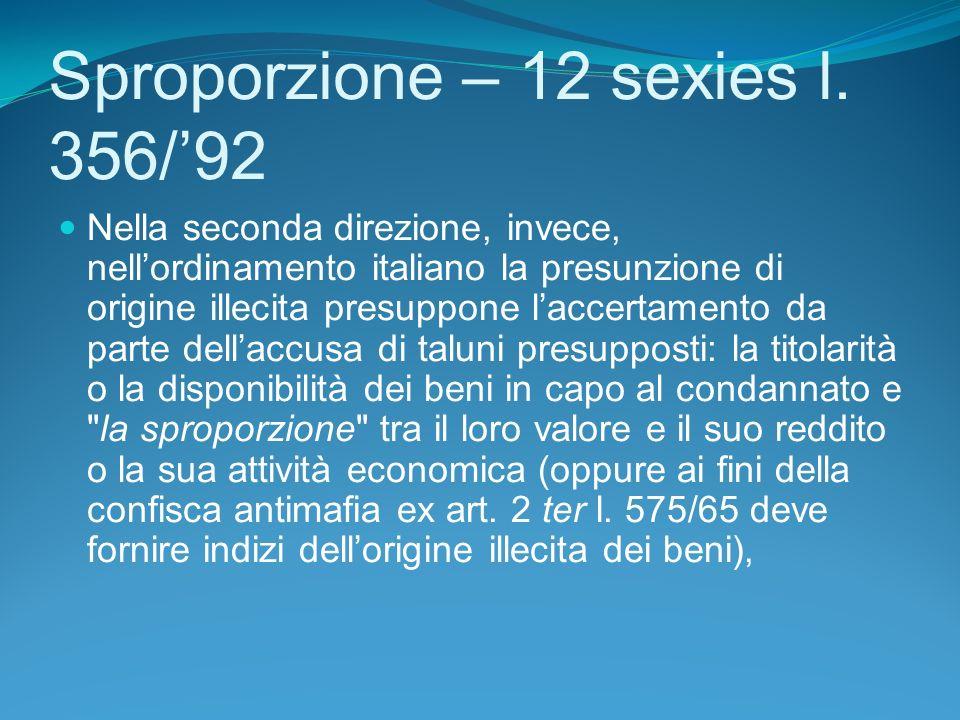 Sproporzione – 12 sexies l. 356/'92