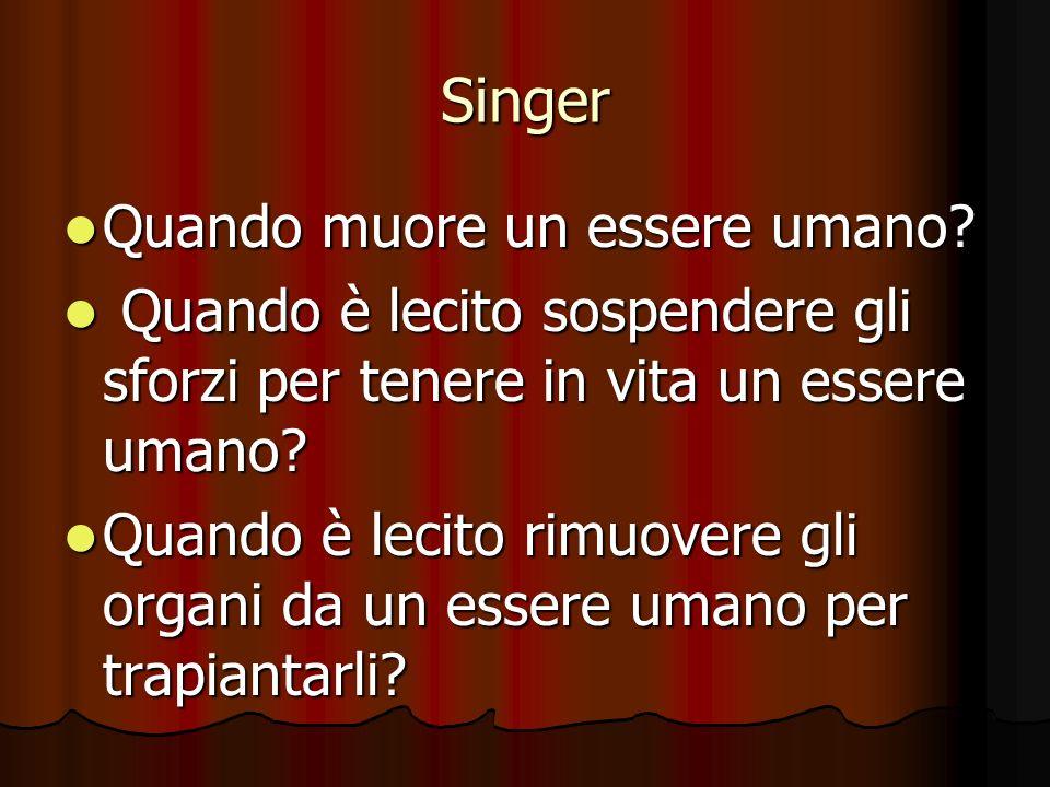 Singer Quando muore un essere umano