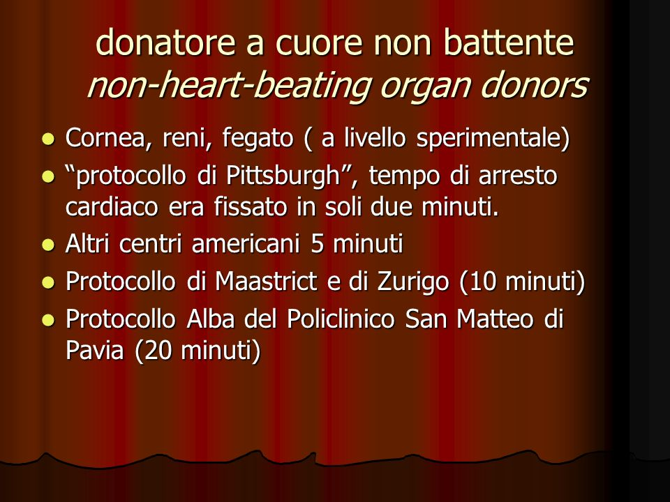 donatore a cuore non battente non-heart-beating organ donors