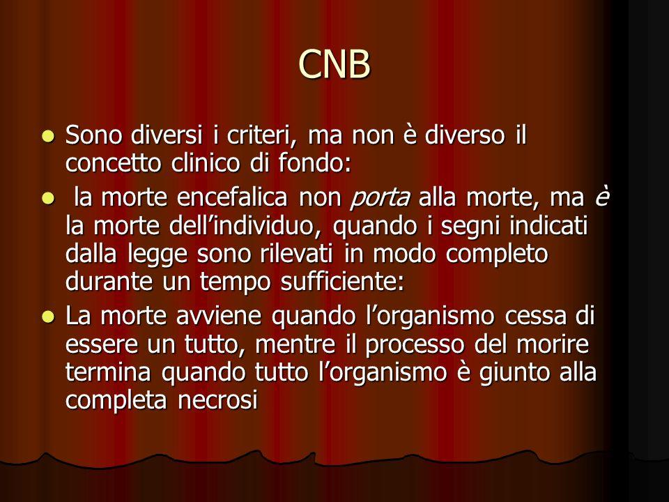 CNB Sono diversi i criteri, ma non è diverso il concetto clinico di fondo: