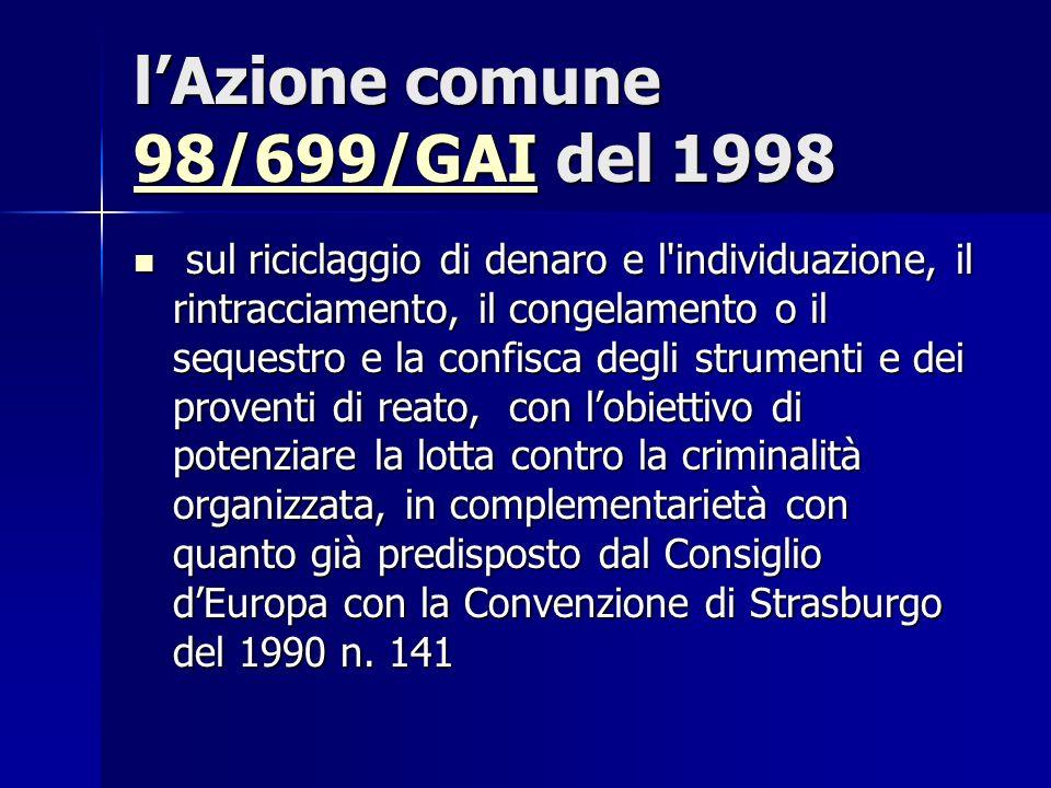 l'Azione comune 98/699/GAI del 1998