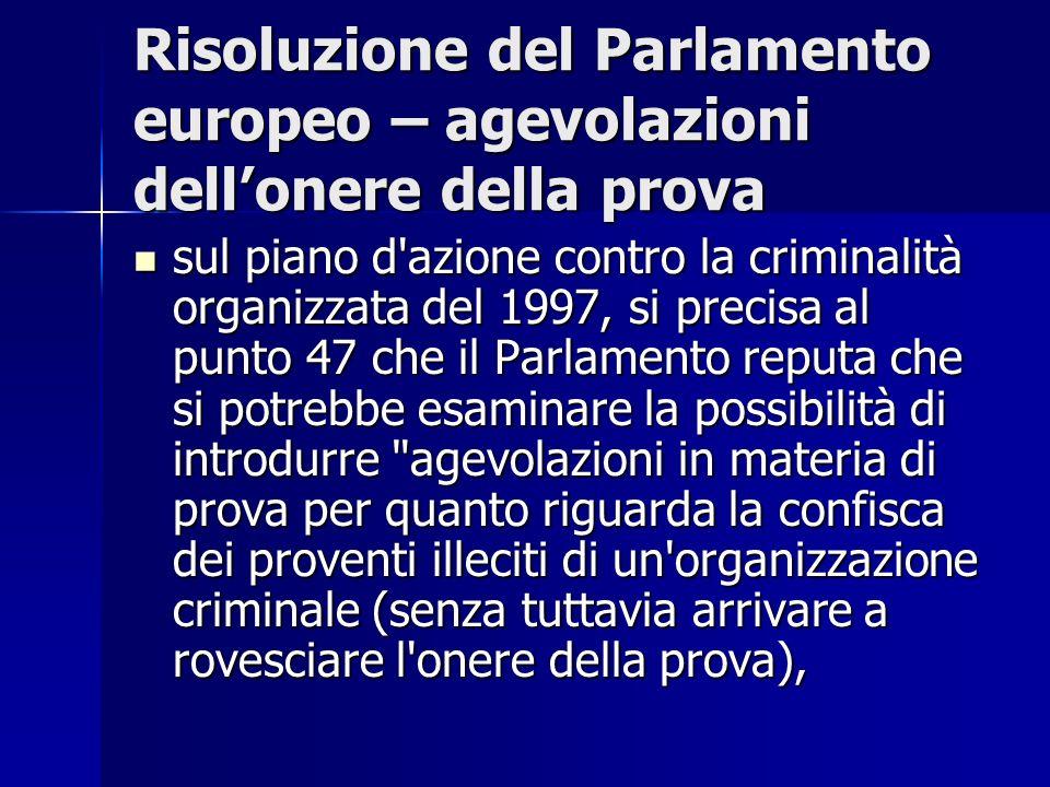 Risoluzione del Parlamento europeo – agevolazioni dell'onere della prova
