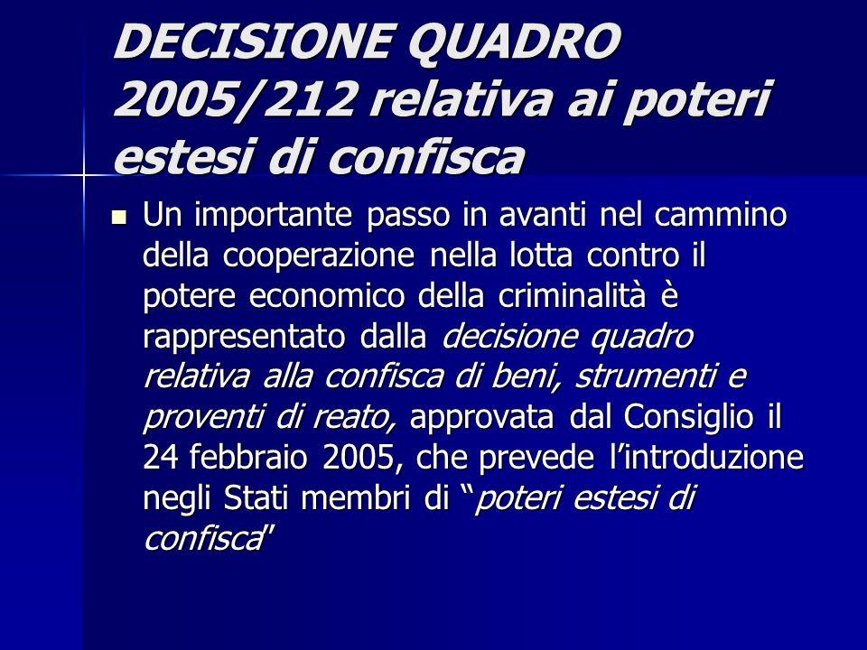 DECISIONE QUADRO 2005/212 relativa ai poteri estesi di confisca