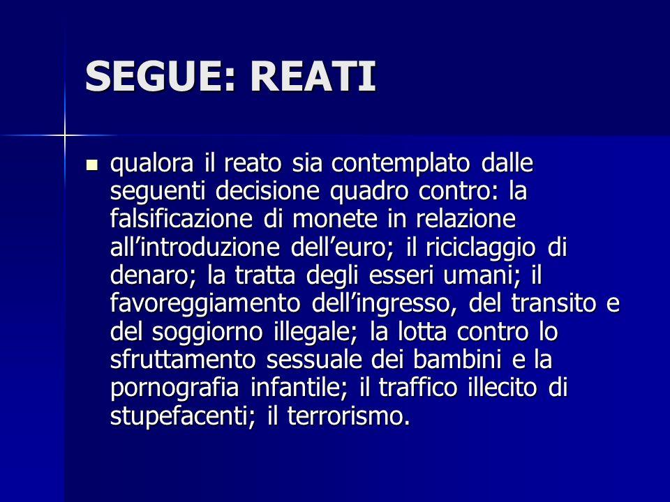 SEGUE: REATI