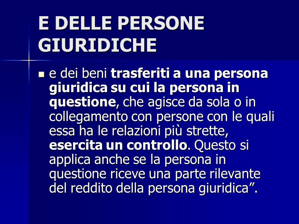E DELLE PERSONE GIURIDICHE